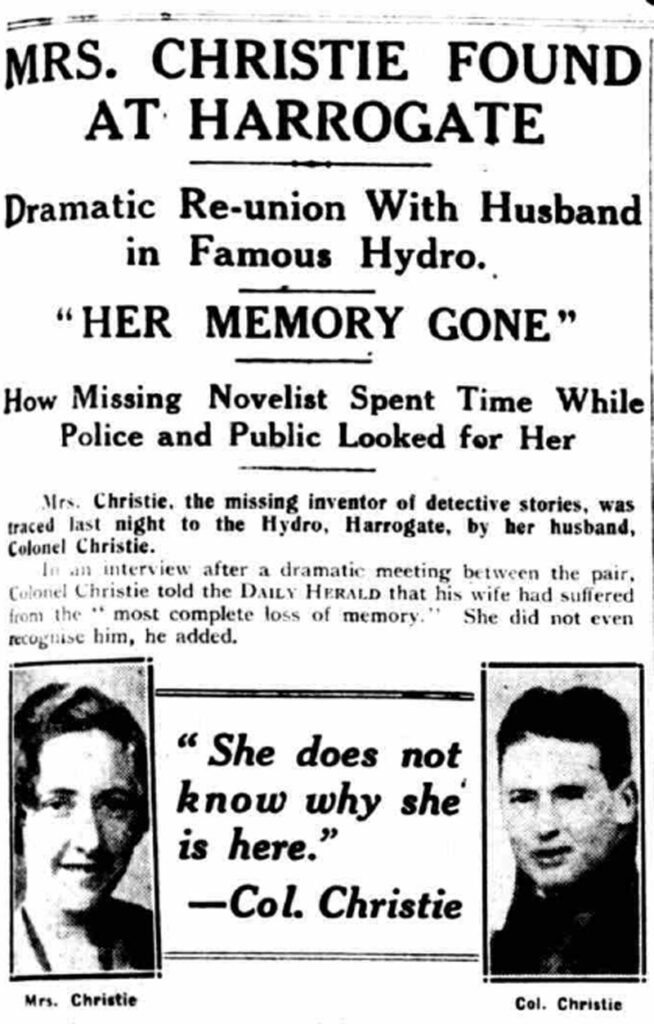 15 December 1926, announcing Christie had been found