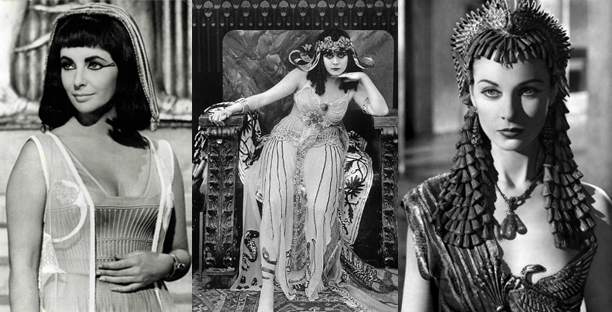 Elizabeth Taylor, Theda Bara and Vivien Leigh in their respective roles as Cleo.