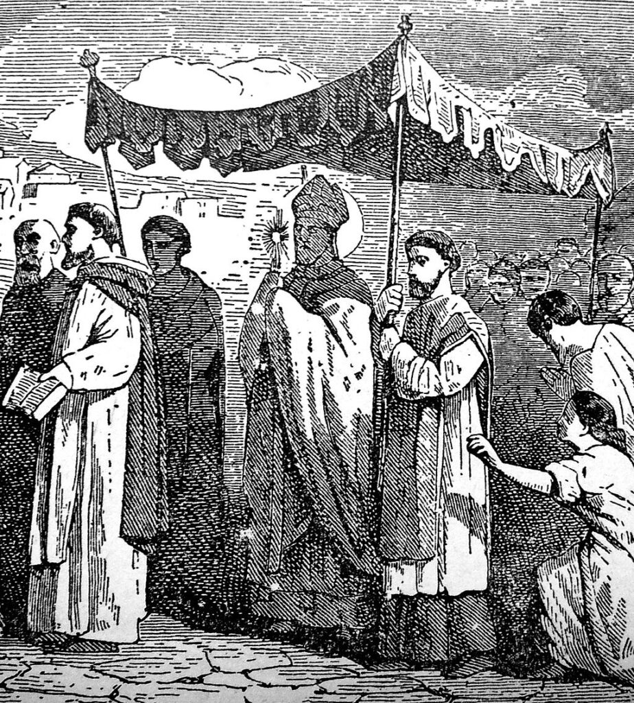 An engraving of Saint Mamertus from an 1878 book, Little Pictorial Lives of the Saints
